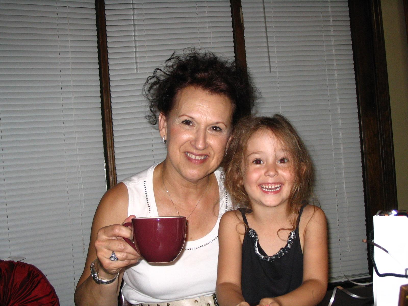 Xrac's wife and his granddaughter Jesse.  Xrac and his wife like their coffee.