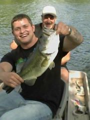 My daughter's boyfriend Blake, and his big ol bass