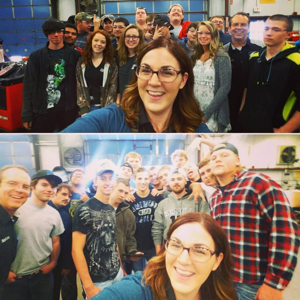 Lindsay with CTC students selfie