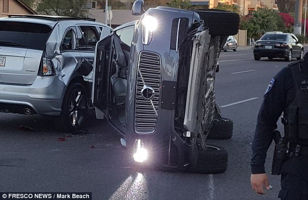 Uber vehicle on it's side after a collision in Tempe, AZ