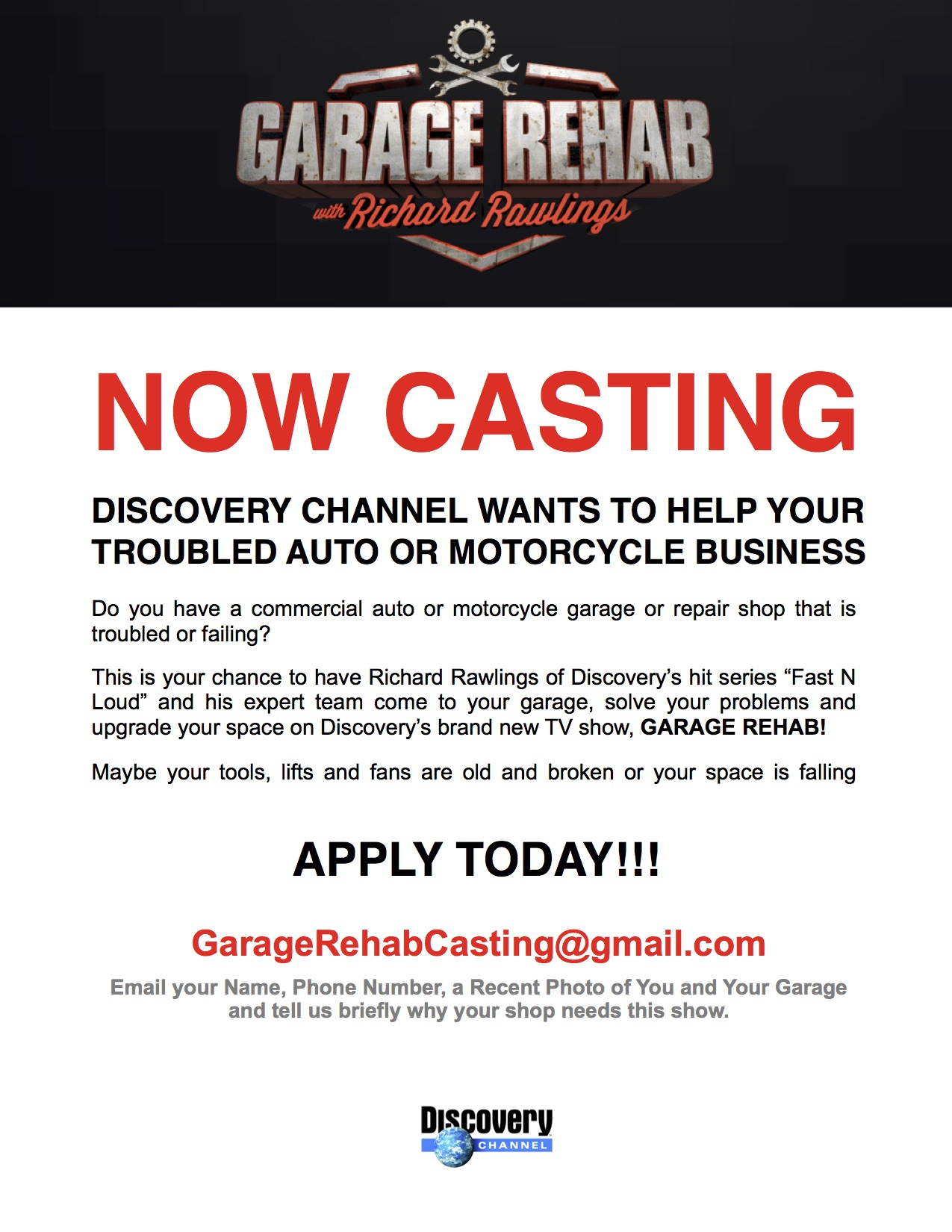 Garage Rehab Casting Discovery Channel General Automotive