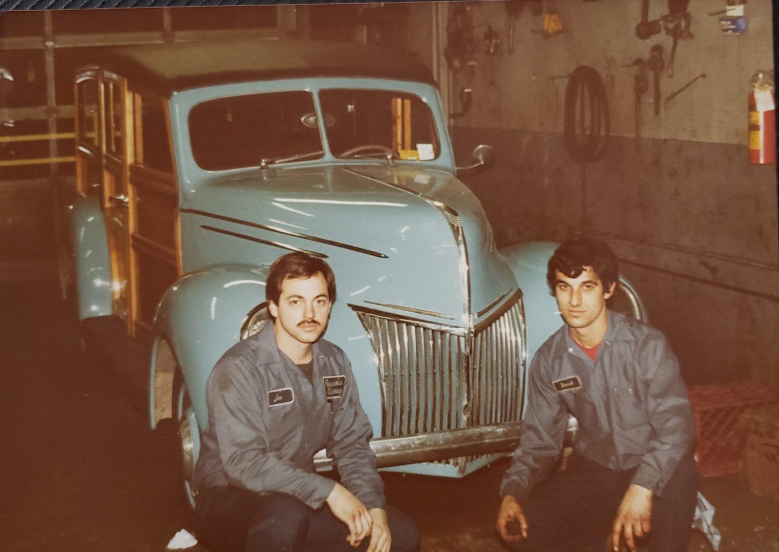 Joe Marconi and technician Franco, 1980